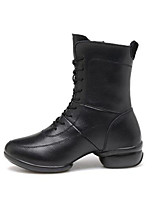 Women's Boots Spring Fall Leather Outdoor Casual Chunky Heel Lace-up Black Others