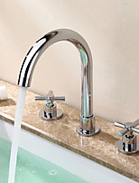 Contemporary  Ceramic Valve Two Handles Three Holes for  Chrome  Bathtub Faucet / Bathroom Sink