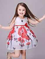 Girl's Casual/Daily Floral DressCotton / Polyester Summer / All Seasons / Spring White