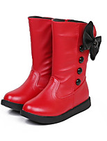 Girl's Boots Spring / Fall Combat Boots PU Casual Flat Heel Zipper Black / Red / White Others