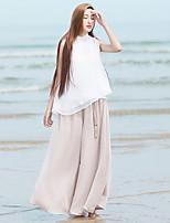 Mulheres Calças Simples Perna larga Poliéster Sem Elasticidade Mulheres