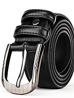 Mens Silver Belt Buckle Casual Pants Jeans Brown Leather Waist Belt Straps
