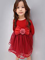 Vestido Chica de-Casual/Diario-Un Color-Otros-Primavera / Otoño-Rosa / Rojo