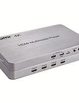 HDMI 1.4 4-Way UHD Media Player Support 3840*2160P 30HZ/4K/2.0 GHz Four-core GPU Android 4.4 System with 500G Hard Disk