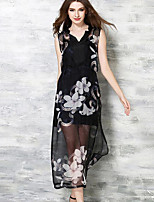 Women's Casual/Daily Simple Sheath DressFloral V Neck Midi Sleeveless Black Polyester Summer / Fall