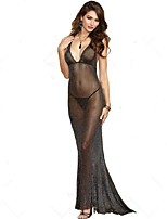 Women Chemises & Gowns / Ultra Sexy NightwearSexy Solid-Thin Polyester / Rayon Black Women's
