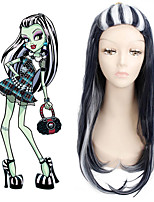 Monster High Frankie Halloween Costume Party Cosplay Wigs Ombre Sliver Grey Black Highlight Hairstyle