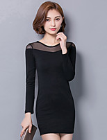 Women's Plus Size / Going out / Casual/Daily Street chic Bodycon / Little Black DressSolid  Above Knee Long Sleeve Black