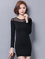 Женский На выход / На каждый день / Большие размеры Уличный стиль Облегающий силуэт / Маленькое черное Платье Однотонный,Круглый вырез