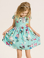 Girl's Casual/Daily Print DressCotton / Polyester Summer / Spring Green