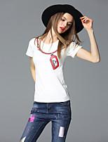 FRMZ  Women's Going out Street chic Summer T-shirtPrint Round Neck Short Sleeve White Cotton Medium