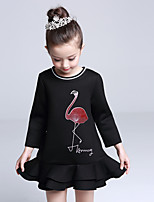 Girl's Casual/Daily Solid DressCotton / Polyester Winter / Fall Black / Pink / White