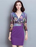 Women's Plus Size / Going out Street chic Sheath DressPrint V Neck Above Knee  Sleeve Purple Polyester Fall