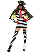 Costumes Movie & TV Theme Costumes Halloween White / Black Striped Terylene Dress / More Accessories