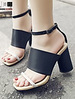 Women's Sandals Spring Summer Fall Ankle Strap Leather Casual Chunky Heel Others Black White Others