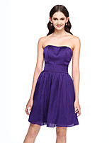 Lanting Bride®Short / Mini Satin Chiffon Bridesmaid Dress - Short A-line Strapless with Sash / Ribbon