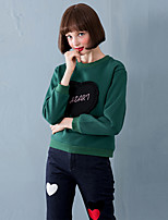 Linjou Women's Going out Vintage Regular HoodiesPatchwork Green Round Neck Long Sleeve Cotton Fall Medium Inelastic