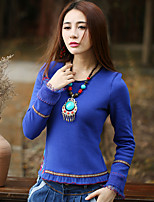 Normal Pullover Femme Sortie Vintage,Fleur / Cachemire Bleu Col Ras du Cou Manches Longues Coton Printemps / Automne Moyen Micro-élastique