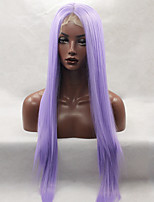 moda longa reta laço sintético frente peruca cor roxa glueless para mulheres afro perucas
