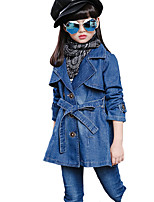Girl's Casual/Daily Solid Jeans / Trench CoatCotton Fall Blue