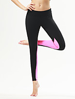 Yoga Pants Tights Breathable / Quick Dry / Compression / Comfortable Natural Stretchy Sports Wear Black / Peach