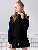 Linjou Women's Going out Simple Fall JacketsPatchwork V Neck Long Sleeve Black Polyester Medium