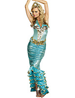 Cosplay Costumes Party Costume Mermaid Tail Fairytale Festival/Holiday Halloween Costumes Blue Solid Dress Halloween Carnival Female