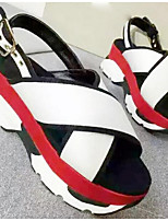 Women's Sandals Summer Sandals Microfibre Outdoor Platform Buckle Green / White Others