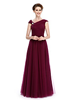 Lanting Bride® A-line Mother of the Bride Dress Floor-length Sleeveless Tulle with Side Draping / Criss Cross / Crystal Brooch