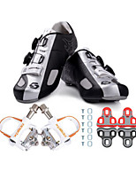Cycling Shoes Unisex Outdoor / Road Bike 02 Sneakers Damping / Cushioning Black / Silver-sidebike And White Lock Pedals