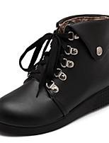 Feminino-Botas-Plataforma Inovador Botas de Cowboy Botas de Neve Botas Montaria Botas da Moda-Rasteiro Plataforma-Preto Marrom Branco-