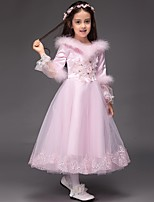 Ball Gown Tea-length Flower Girl Dress - Satin / Tulle Long Sleeve Jewel with Embroidery / Ruffles