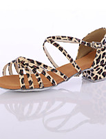 Women's Latin Silk Heels Performance Heel Leopard Customizable