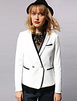 Blazer Aux femmes,Couleur Pleine Travail simple Printemps / Automne Manches Longues Revers Cranté Rose / Blanc Polyester Opaque
