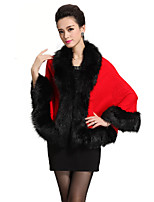 Women's Going out / Party/Cocktail Vintage / Sophisticated Regular Cloak / CapesSolid Imitation Fox Fur Shawl Cape Coat
