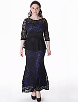 Women's Plus Size Vintage Sheath DressPatchwork Round Neck Maxi  Length Sleeve Blue5