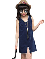 Girl's Casual/Daily Solid DressOthers Summer Blue