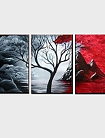 Pintada a mano Abstracto / Paisaje / Naturaleza muerta / Fantasía Pinturas de óleo,Modern / Clásico / Estilo europeo Tres Paneles Lienzos