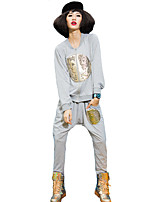 Women's Casual/Daily Street chic Fall Set Pant Suits,Print Round Neck Long Sleeve Black / Gray Cotton Medium