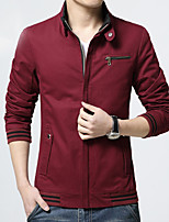 Men's Solid Casual / Work Leisure Trench Coat Cotton Long Sleeve Winter Fashion Outerwear