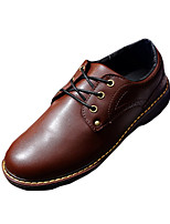 Men's Oxfords Spring / Fall Round Toe PU Outdoor / Casual Flat Heel Lace-up Black / Brown / Red Walking