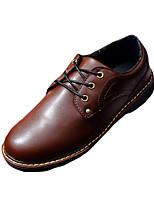 Черный / Коричневый / Красный-Мужской-Для прогулок / На каждый день-Полиуретан-На плоской подошве-С круглым носком-Туфли на шнуровке