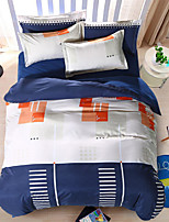 Bedtoppings Comforter Duvet Quilt Cover 4pcs Set Queen Size Flat Sheet Pillowcase Blue White Prints Microfiber