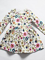Girl's Casual/Daily Floral DressCotton Spring / Fall Blue / Beige