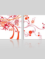 JAMMORY Canvas Set Landscape ,Two Panels Gallery Wrapped, Ready To Hang Vertical Print No Frame Simple Red Flowers