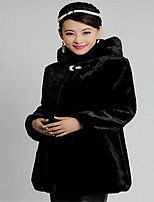 Women's Plus Size / Casual/Daily / Party/Cocktail Sexy / Simple Fur Coat,Solid Hooded Long Sleeve Fall /