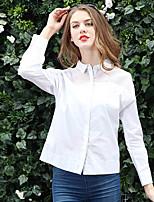 AJIDUO® Женский Рубашечный воротник Длинные Рубашка и Блузка черный увядает / Кот-A9289