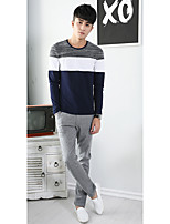 Men's Patchwork Casual T-ShirtCotton Long Sleeve-Blue / White / Gray