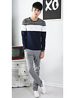 Masculino Camiseta Algodão Mosaico de Retalhos Manga Comprida Casual-Azul / Branco / Cinza