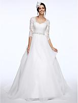 Lanting Bride® גזרת A שמלת כלה  שובל קורט המלכה אן תחרה / אורגנזה עם סרט / אפליקציות / חרוזים / כפתור